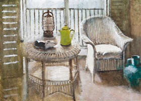 still life with lloyd loom chair by clive mccartney