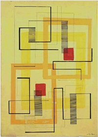 untitled (rug design in yellow) by irene rice pereira