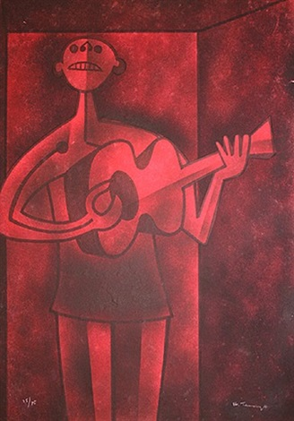 unknown (man playing guitar) by rufino tamayo