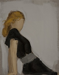 girl in black dress by gideon rubin