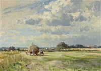 carting the marsh hay by edward seago