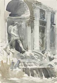 the trevi fountain by edward seago