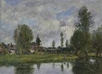 village aux environs de dunkerque by eugène boudin