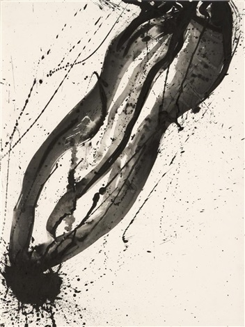 untitled black and white composition by sam francis