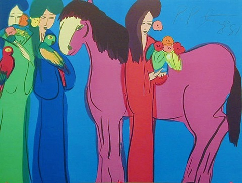 pink horse three geishas by walasse ting