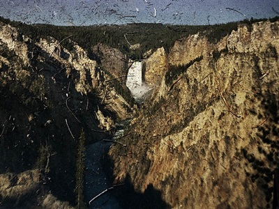 tent-camera image on ground: view of the grand canyon and lower falls, yellowstone national park, wyoming by abelardo morell