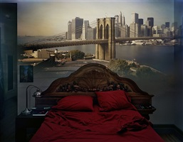 camera obscura: view of the brooklyn bridge in bedroom by abelardo morell