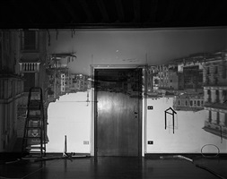 camera obscura: the grand canal looking west toward the accademia bridge in palazzo room under construction, venice by abelardo morell