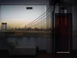 camera obscura: view of the manhattan bridge, april 20th, evening by abelardo morell