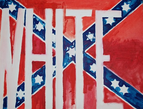 untitled (white written on a confederate flag with stars of david) by g. ray kerciu