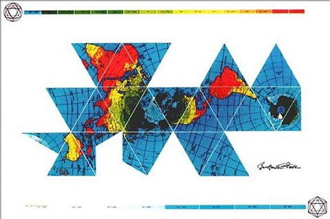 dymaxion air - ocean world map by buckminster fuller