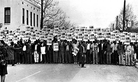 """i am a man"": sanitation workers assemble in front of clayborn temple for a solidarity march, memphis, tn, march 28, 1968 by ernest withers"