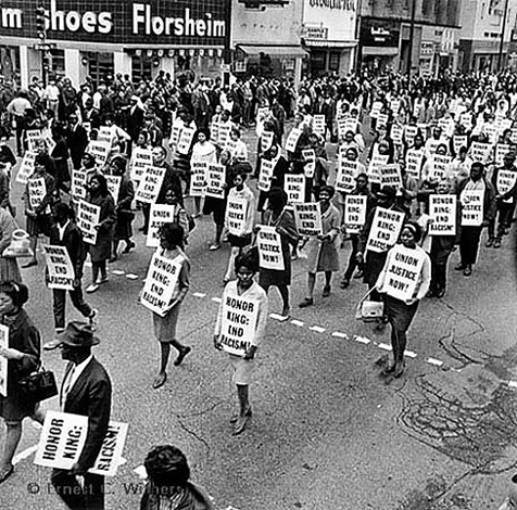 memorial march after the assassination of martin luther king - main st. memphis, tn, 1968 by ernest withers