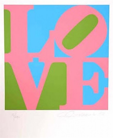 book of love pink/green/blue by robert indiana