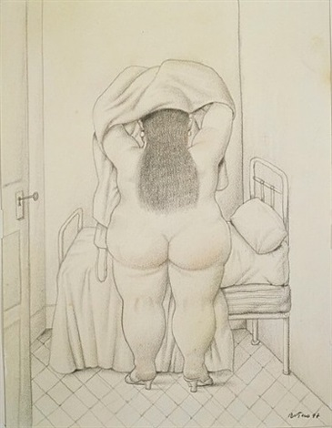 woman undressing by fernando botero