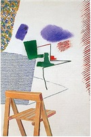chair with photograph by david hockney