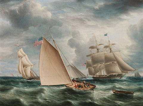 american shipping displays the flag by james edward buttersworth