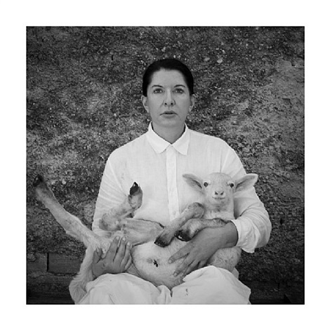 portrait with white lamb by marina abramovic