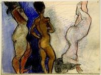 two ochre women, one pink woman by peter heinemann
