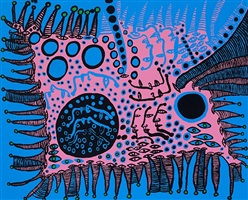 a tale in blue is filled with my life by yayoi kusama