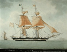 the brig theodore captured by a corsair by antoine roux
