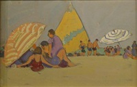 beach scene and striped sail by jane peterson