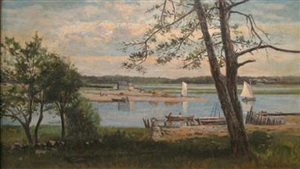 boats on an inlet, newburyport mass. 1878 by frank henry shapleigh