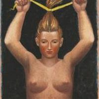 woman with a yellow ribbon by hermann albert