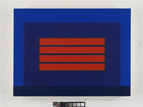 blue horizontal prison by peter halley