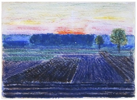 field at sunset by oscar florianus bluemner