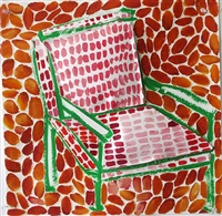 green chair with red cushions (orange background) by jerry mischak