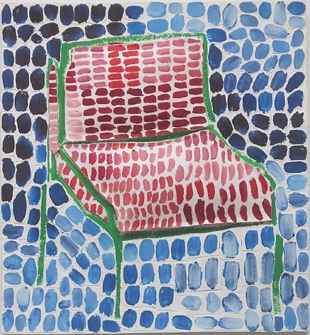 green chair with red cushions (blue background) by jerry mischak