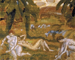 three nude figures, giverny by frederick carl frieseke