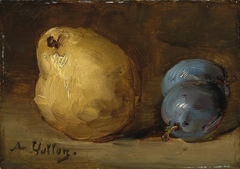 nature morte aux prunes et poire by antoine vollon