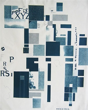 lithograph in blue with 2 collage elements by kurt schwitters