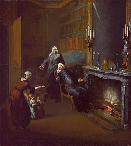 a lawyers' chambers: two children presented by a maid by gabriel jacques de saint-aubin