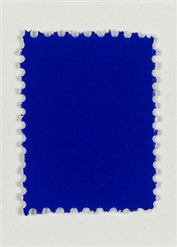 untitled (ikb pigment on postal stamp) by yves klein