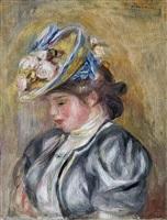 jeune fille au chapeau fleuri by pierre-auguste renoir