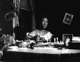 sarah vaughan, backstage, chicago theater, 1949 by ted williams