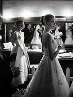 audrey hepburn and grace kelly backstage at the 28th annual academy awards, hollywood, california by allan grant