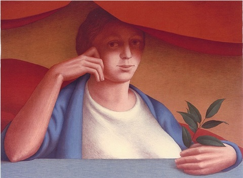 woman with a sprig of laurel (646) by george tooker