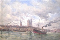 the harbor at rouen (658) by frank myers boggs