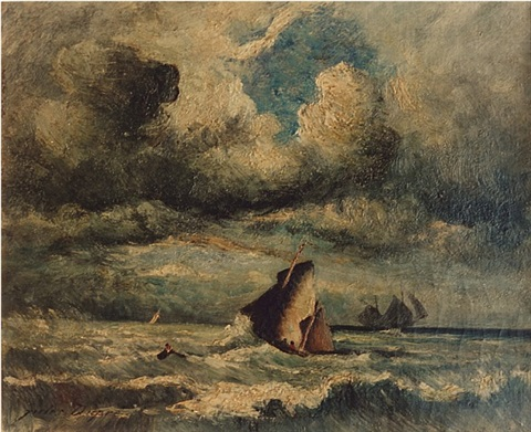 sailing ships in choppy seas by jules dupré