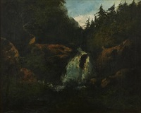 cascading waterfall (354) by gustave courbet