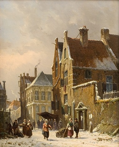 dutch town in winter by adrianus eversen