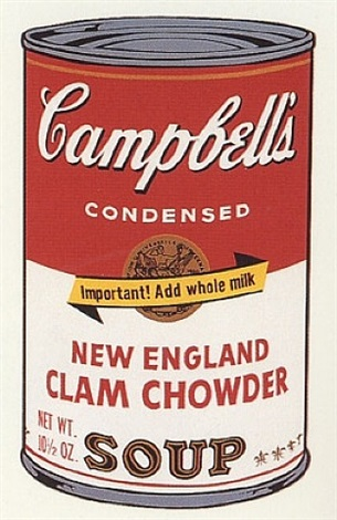 campbell's new england clam chowder soup by andy warhol