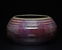 eggplant colored ribbed bowl by auguste delaherche