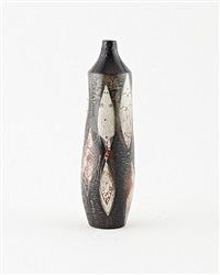 long bottle form vase with geometric pattern by de porceleyne fles