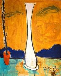still life with white vase by marcus reichert