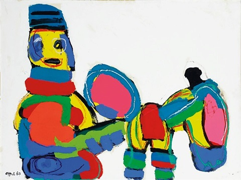 happy horseback rider by karel appel